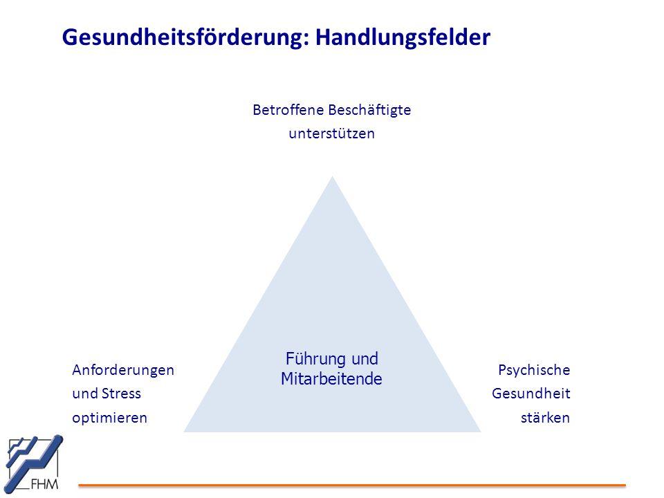 Gesundheitsförderung: Handlungsfelder Führung und Mitarbeitende Betroffene Beschäftigte unterstützen Psychische Gesundheit stärken Anforderungen und S