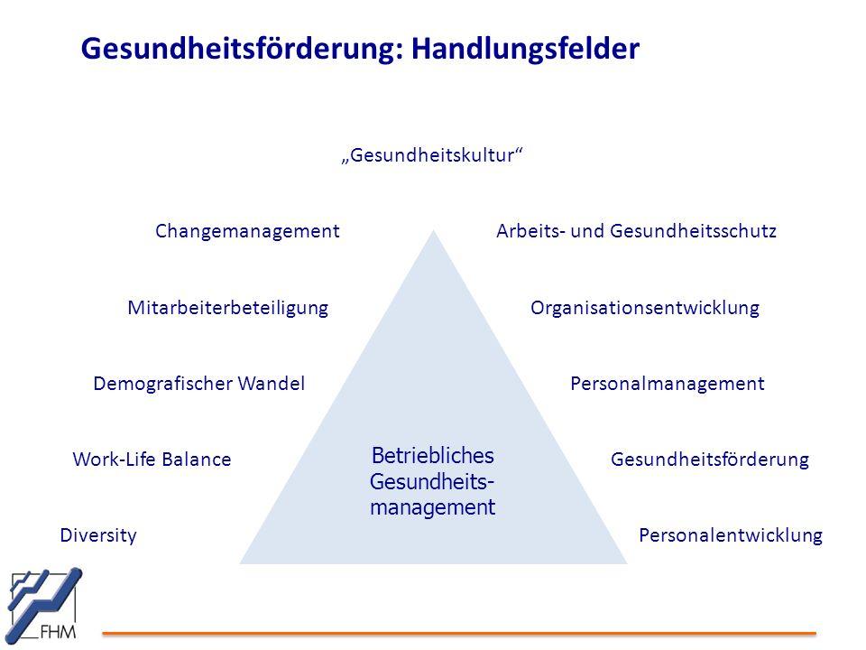 """Gesundheitsförderung: Handlungsfelder Betriebliches Gesundheits- management """"Gesundheitskultur"""" Diversity Work-Life Balance Demografischer Wandel Mita"""