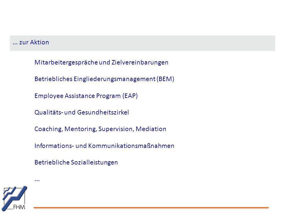 Mitarbeitergespräche und Zielvereinbarungen Betriebliches Eingliederungsmanagement (BEM) Employee Assistance Program (EAP) Qualitäts- und Gesundheitsz