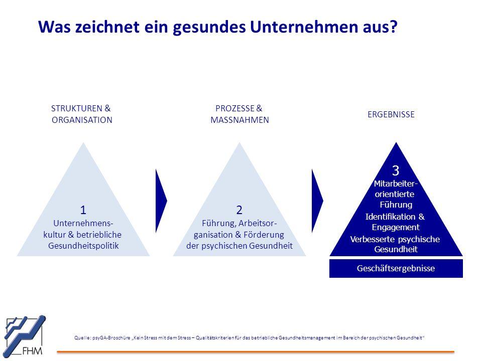"""Was zeichnet ein gesundes Unternehmen aus? Quelle: psyGA-Broschüre """"Kein Stress mit dem Stress – Qualitätskriterien für das betriebliche Gesundheitsma"""