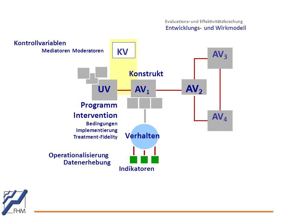 Evaluations- und Effektivitätsforschung Entwicklungs- und Wirkmodell UV AV 1 Konstrukt Operationalisierung Datenerhebung Indikatoren Programm Intervention Bedingungen Implementierung Treatment-Fidelity Verhalten Kontrollvariablen Mediatoren Moderatoren AV 3 AV 4 AV 2 KV