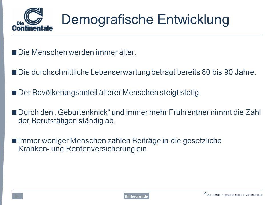 © Versicherungsverbund Die Continentale Risiken Beispiel: Pflegebedürftigkeit Risiken 2.230 2.698 3.348
