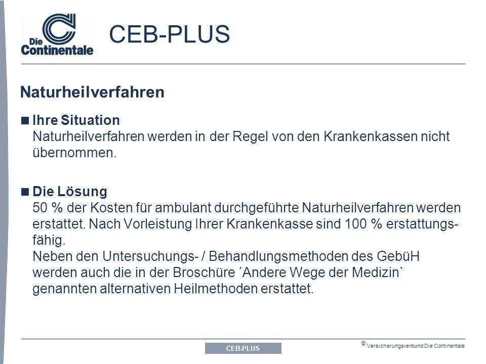 © Versicherungsverbund Die Continentale Naturheilverfahren CEB-PLUS  Ihre Situation Naturheilverfahren werden in der Regel von den Krankenkassen nicht übernommen.