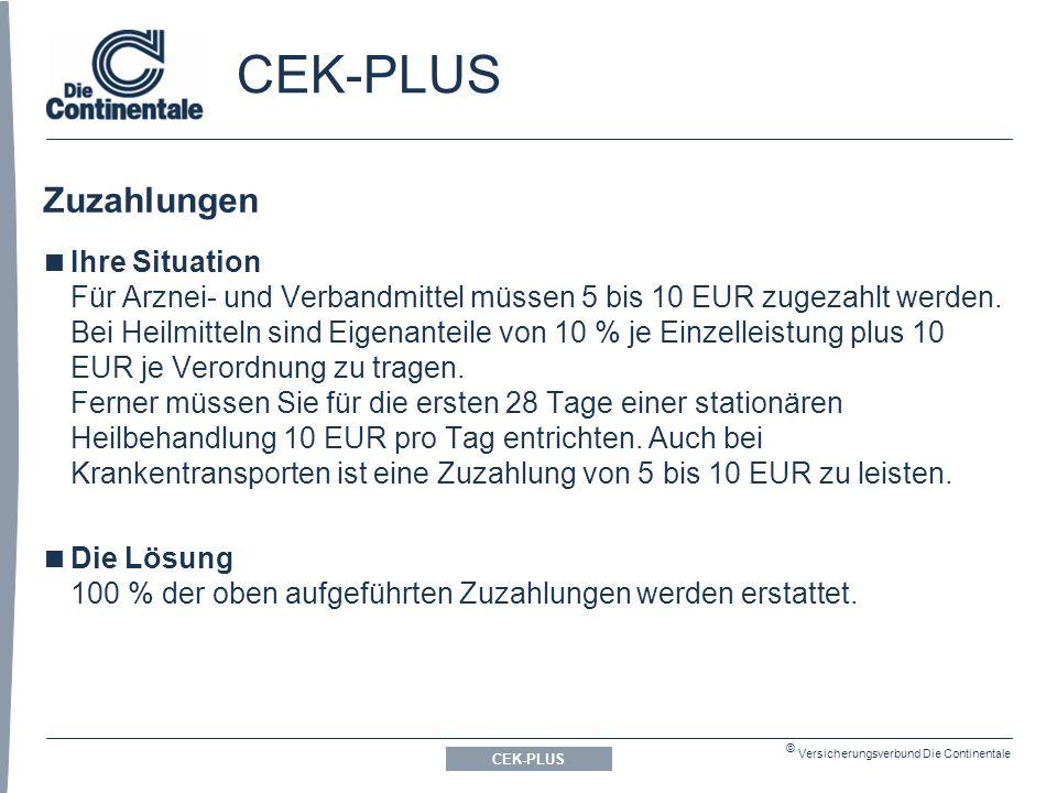 © Versicherungsverbund Die Continentale CEK-PLUS Zuzahlungen CEK-PLUS  Ihre Situation Für Arznei- und Verbandmittel müssen 5 bis 10 EUR zugezahlt werden.