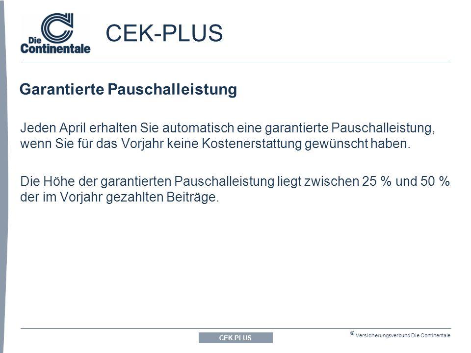 © Versicherungsverbund Die Continentale CEK-PLUS Garantierte Pauschalleistung CEK-PLUS Jeden April erhalten Sie automatisch eine garantierte Pauschalleistung, wenn Sie für das Vorjahr keine Kostenerstattung gewünscht haben.