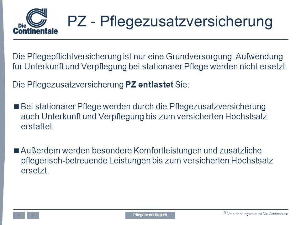 © Versicherungsverbund Die Continentale PZ - Pflegezusatzversicherung Die Pflegepflichtversicherung ist nur eine Grundversorgung.