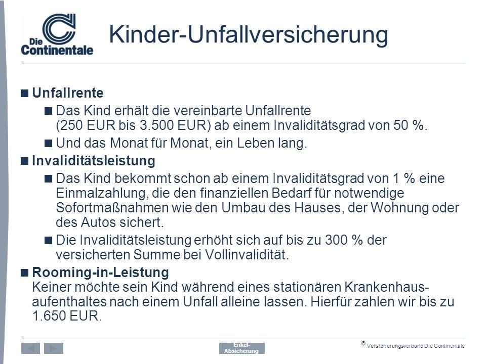 © Versicherungsverbund Die Continentale Kinder-Unfallversicherung  Unfallrente  Das Kind erhält die vereinbarte Unfallrente (250 EUR bis 3.500 EUR) ab einem Invaliditätsgrad von 50 %.