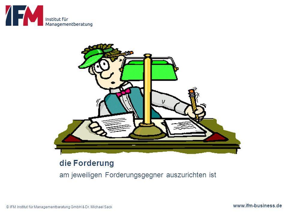 www.ifm-business.de die Forderung am jeweiligen Forderungsgegner auszurichten ist © IFM Institut für Managementberatung GmbH & Dr.
