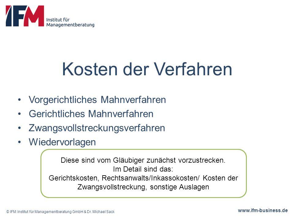 www.ifm-business.de Kosten der Verfahren Vorgerichtliches Mahnverfahren Gerichtliches Mahnverfahren Zwangsvollstreckungsverfahren Wiedervorlagen © IFM Institut für Managementberatung GmbH & Dr.