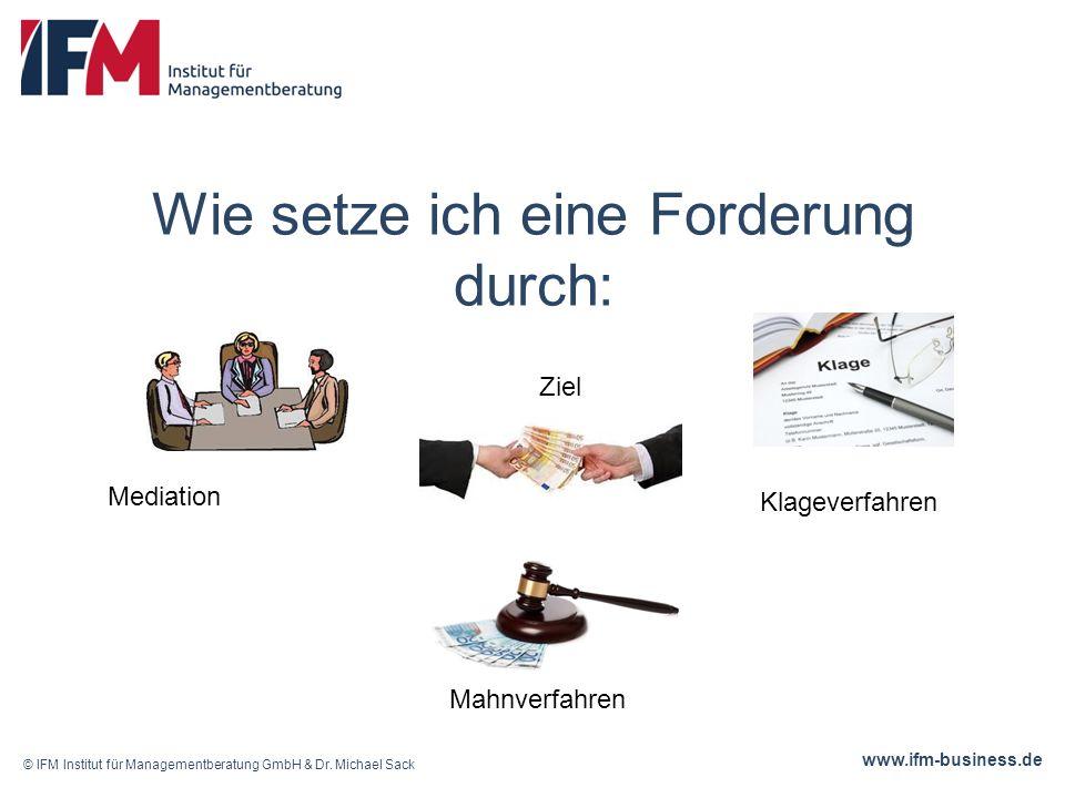 www.ifm-business.de Wie setze ich eine Forderung durch: © IFM Institut für Managementberatung GmbH & Dr.