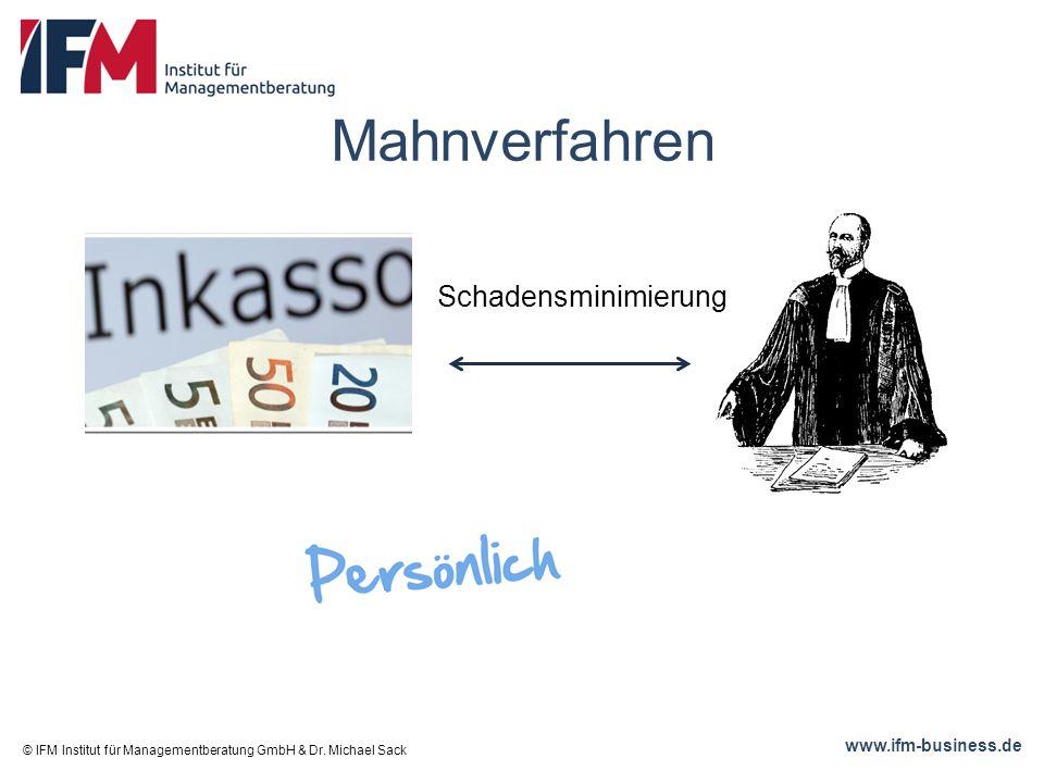 www.ifm-business.de Mahnverfahren © IFM Institut für Managementberatung GmbH & Dr.