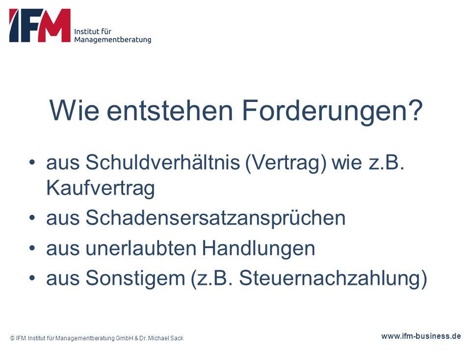 www.ifm-business.de Forderungen sind: Inhaberrechte, die auch verwertet werden können, z.B.: Pfändung Verkauf (Factoring) Übertragung Vererbung !!hier müssen jeweils die rechtlichen Normen beachtet werden!.