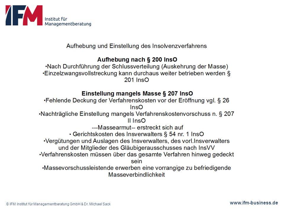 www.ifm-business.de © IFM Institut für Managementberatung GmbH & Dr. Michael Sack