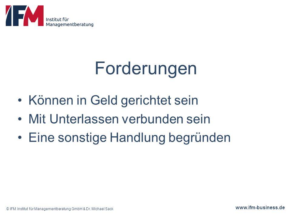www.ifm-business.de Forderungen Können in Geld gerichtet sein Mit Unterlassen verbunden sein Eine sonstige Handlung begründen © IFM Institut für Managementberatung GmbH & Dr.