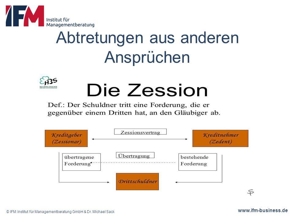www.ifm-business.de Abtretungen aus anderen Ansprüchen © IFM Institut für Managementberatung GmbH & Dr.