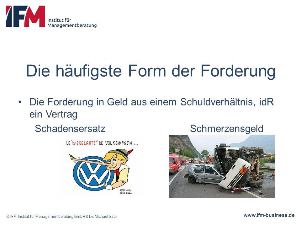 www.ifm-business.de Entstehung von Forderungen Durch oder © IFM Institut für Managementberatung GmbH & Dr.