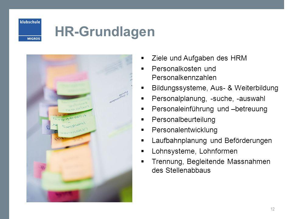HR-Grundlagen  Ziele und Aufgaben des HRM  Personalkosten und Personalkennzahlen  Bildungssysteme, Aus- & Weiterbildung  Personalplanung, -suche,