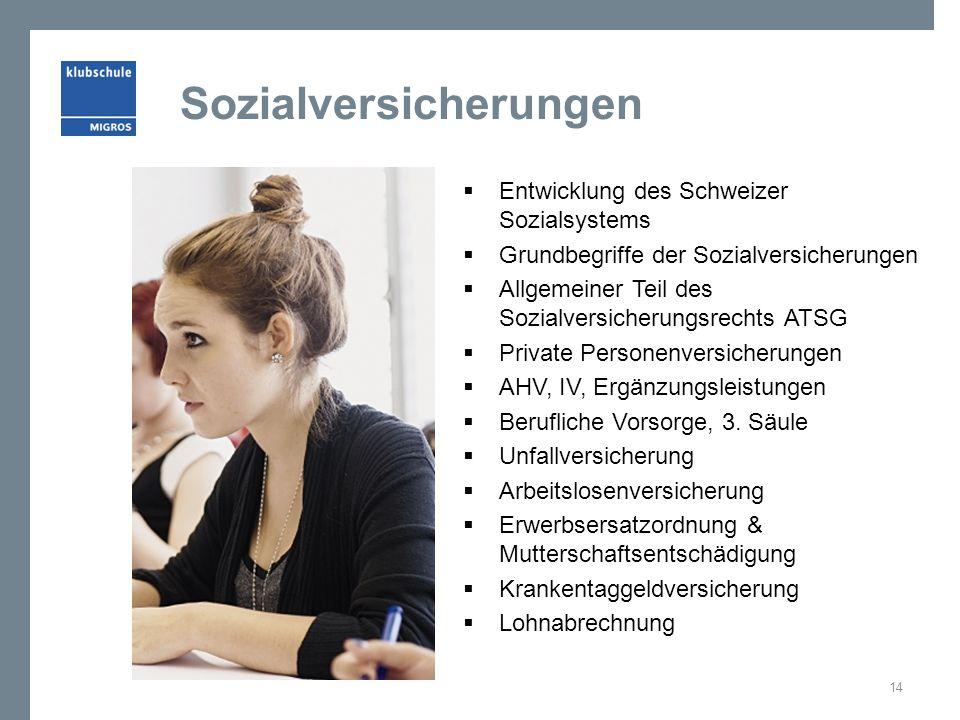 Sozialversicherungen  Entwicklung des Schweizer Sozialsystems  Grundbegriffe der Sozialversicherungen  Allgemeiner Teil des Sozialversicherungsrechts ATSG  Private Personenversicherungen  AHV, IV, Ergänzungsleistungen  Berufliche Vorsorge, 3.