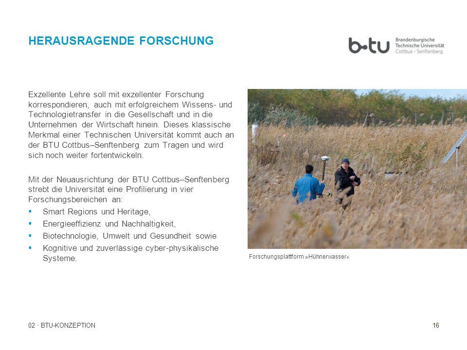 16 02 · BTU-KONZEPTION HERAUSRAGENDE FORSCHUNG Forschungsplattform »Hühnerwasser« Exzellente Lehre soll mit exzellenter Forschung korrespondieren, auc
