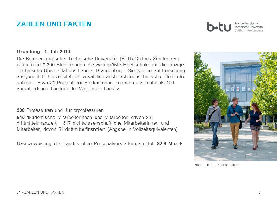 3 Gründung: 1. Juli 2013 Die Brandenburgische Technische Universität (BTU) Cottbus-Senftenberg ist mit rund 8.200 Studierenden die zweitgrößte Hochsch