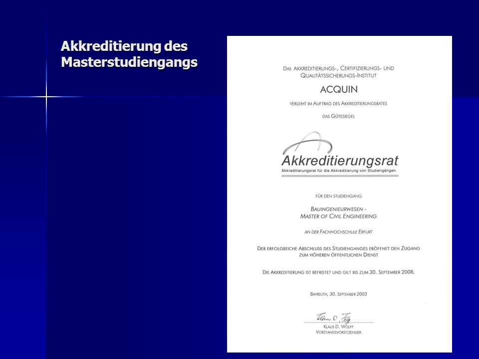 18 Akkreditierung des Masterstudiengangs