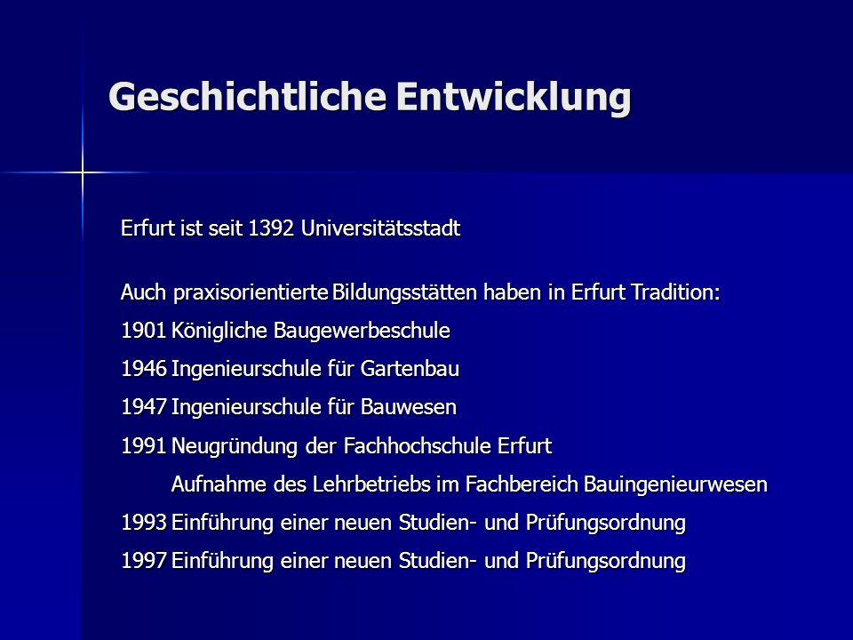 Geschichtliche Entwicklung Erfurt ist seit 1392 Universitätsstadt Auch praxisorientierte Bildungsstätten haben in Erfurt Tradition: 1901Königliche Bau