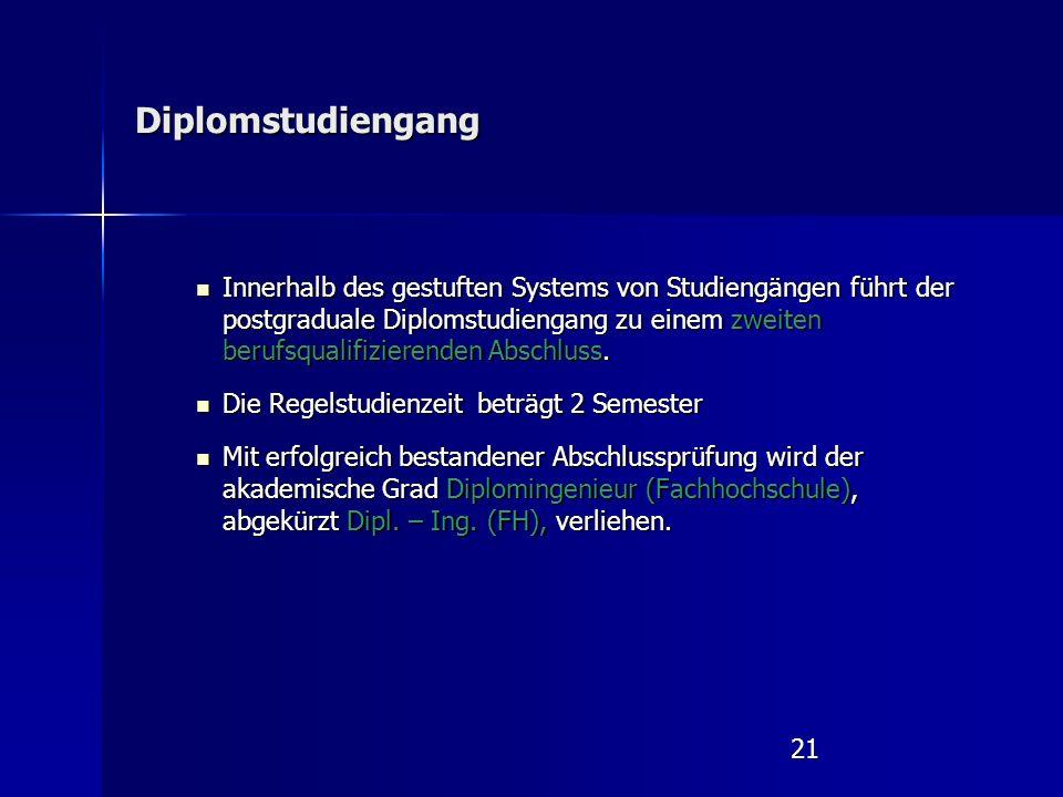 21 Diplomstudiengang Innerhalb des gestuften Systems von Studiengängen führt der postgraduale Diplomstudiengang zu einem zweiten berufsqualifizierenden Abschluss.
