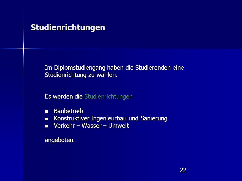 22 Studienrichtungen Im Diplomstudiengang haben die Studierenden eine Studienrichtung zu wählen.