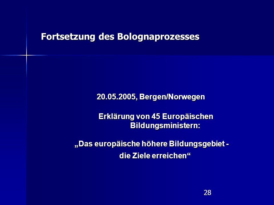 """28 20.05.2005, Bergen/Norwegen Erklärung von 45 Europäischen Bildungsministern: Erklärung von 45 Europäischen Bildungsministern: """"Das europäische höhere Bildungsgebiet - die Ziele erreichen Fortsetzung des Bolognaprozesses"""