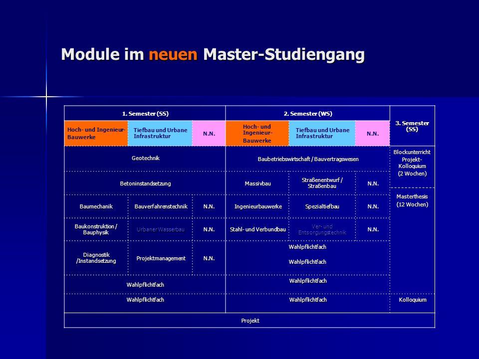1. Semester (SS)2. Semester (WS) 3. Semester (SS) Hoch- und Ingenieur- Bauwerke Tiefbau und Urbane Infrastruktur N.N. Hoch- und Ingenieur- Bauwerke Ti