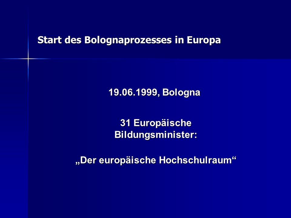 """19.06.1999, Bologna 19.06.1999, Bologna 31 Europäische Bildungsminister: """"Der europäische Hochschulraum"""" Start des Bolognaprozesses in Europa"""