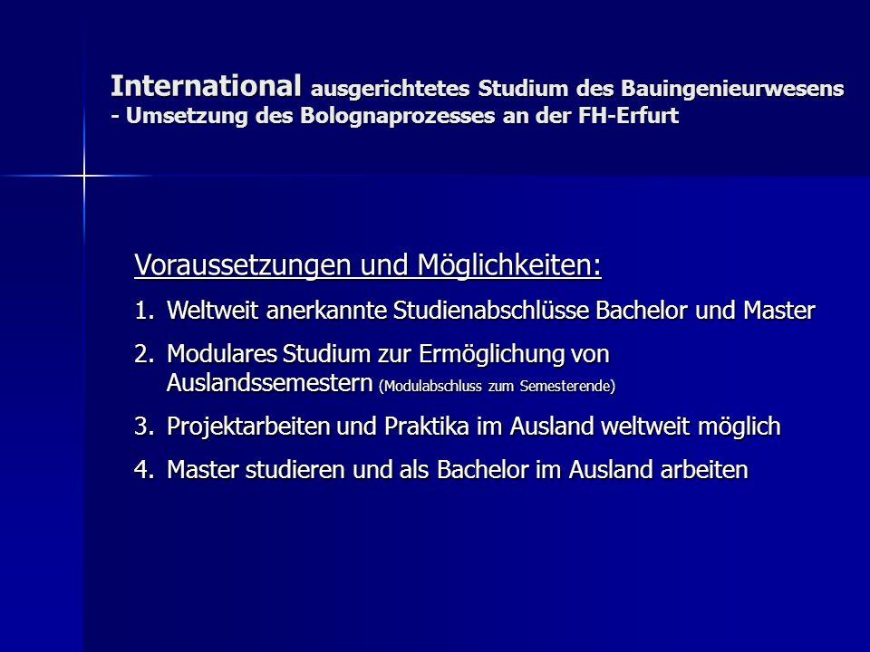 International ausgerichtetes Studium des Bauingenieurwesens - Umsetzung des Bolognaprozesses an der FH-Erfurt Voraussetzungen und Möglichkeiten: 1.Wel