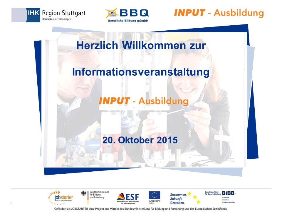 1 Herzlich Willkommen zur Informationsveranstaltung 20. Oktober 2015