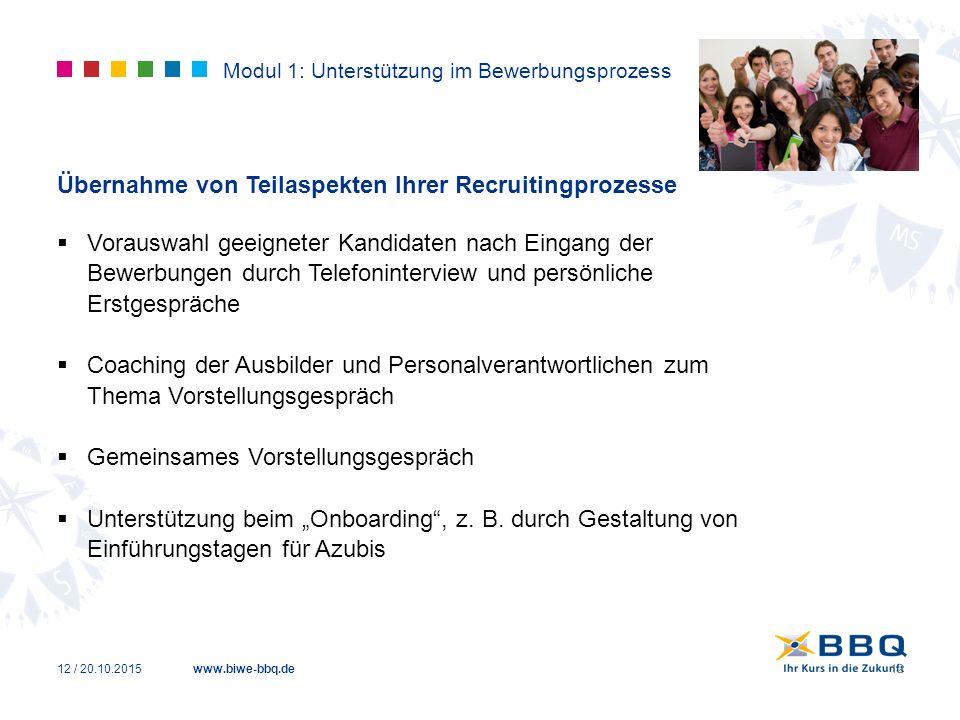 www.biwe-bbq.de Modul 1: Unterstützung im Bewerbungsprozess Übernahme von Teilaspekten Ihrer Recruitingprozesse  Vorauswahl geeigneter Kandidaten nac