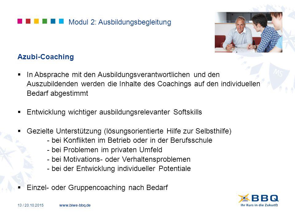 www.biwe-bbq.de Modul 2: Ausbildungsbegleitung Azubi-Coaching  In Absprache mit den Ausbildungsverantwortlichen und den Auszubildenden werden die Inh