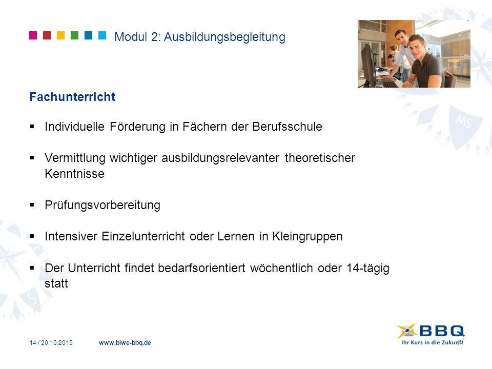 www.biwe-bbq.de Modul 2: Ausbildungsbegleitung Fachunterricht  Individuelle Förderung in Fächern der Berufsschule  Vermittlung wichtiger ausbildungs