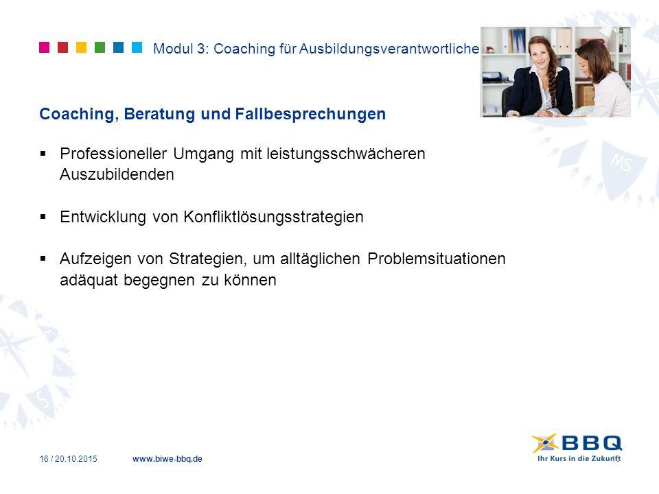 www.biwe-bbq.de Modul 3: Coaching für Ausbildungsverantwortliche Coaching, Beratung und Fallbesprechungen  Professioneller Umgang mit leistungsschwäc