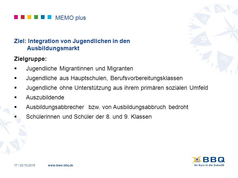www.biwe-bbq.de MEMO plus Ziel: Integration von Jugendlichen in den Ausbildungsmarkt Zielgruppe:  Jugendliche Migrantinnen und Migranten  Jugendlich
