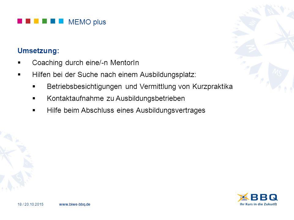 www.biwe-bbq.de MEMO plus Umsetzung:  Coaching durch eine/-n MentorIn  Hilfen bei der Suche nach einem Ausbildungsplatz:  Betriebsbesichtigungen un