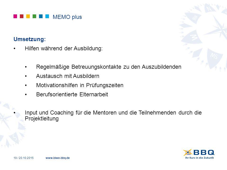 www.biwe-bbq.de MEMO plus Umsetzung: Hilfen während der Ausbildung: Regelmäßige Betreuungskontakte zu den Auszubildenden Austausch mit Ausbildern Moti