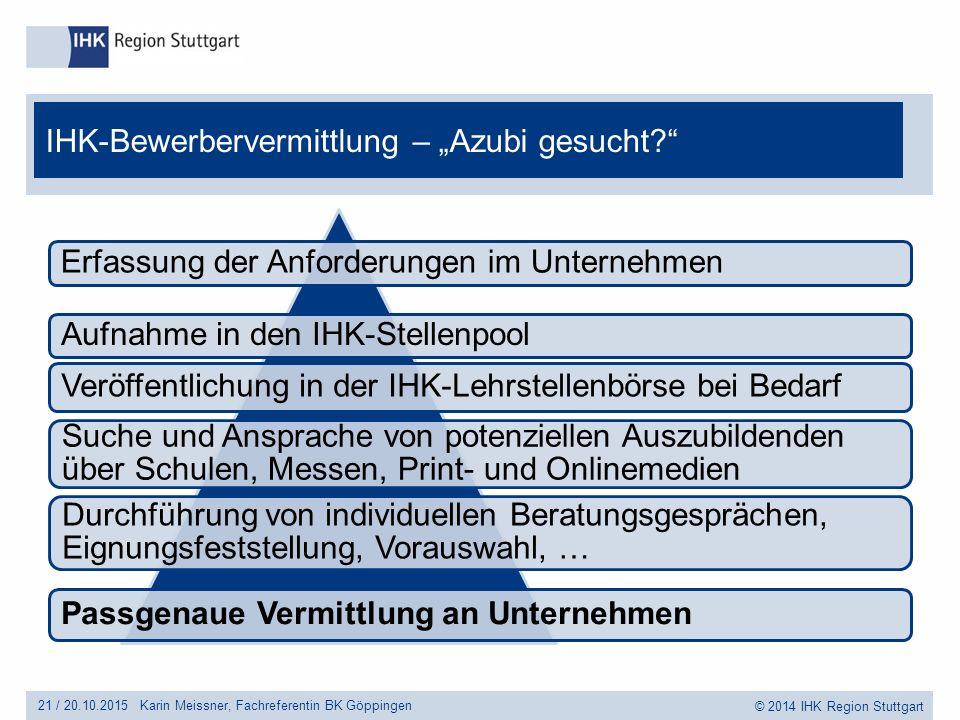 """© 2014 IHK Region Stuttgart IHK-Bewerbervermittlung – """"Azubi gesucht?"""" 21 /20.10.2015 Erfassung der Anforderungen im Unternehmen Suche und Ansprache v"""