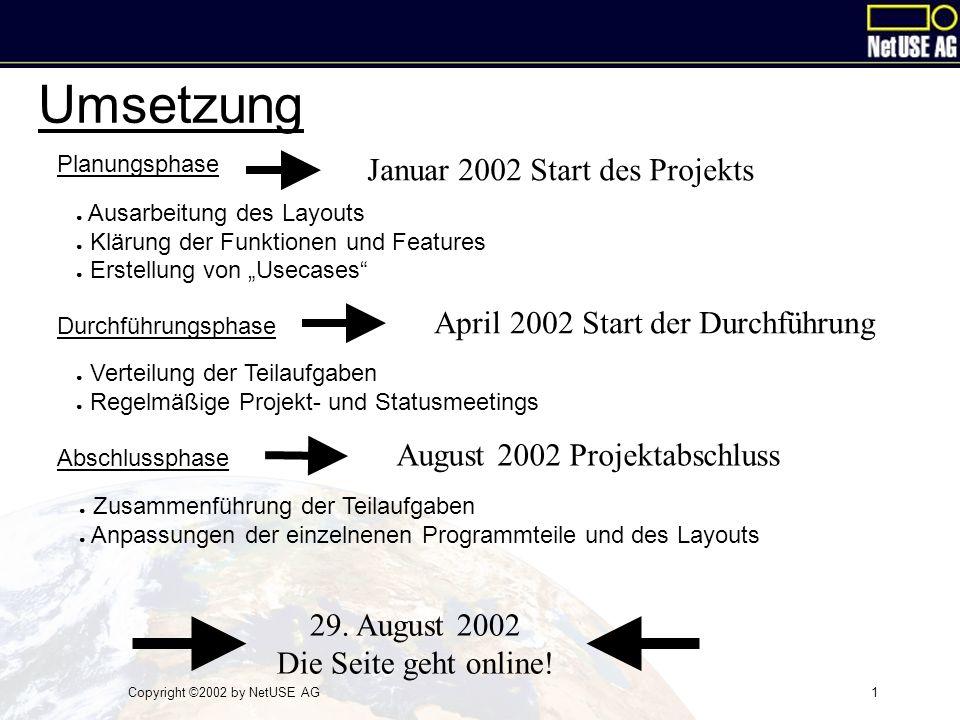 Copyright ©2002 by NetUSE AG1 Umsetzung Planungsphase Durchführungsphase Abschlussphase ● Verteilung der Teilaufgaben ● Regelmäßige Projekt- und Statu