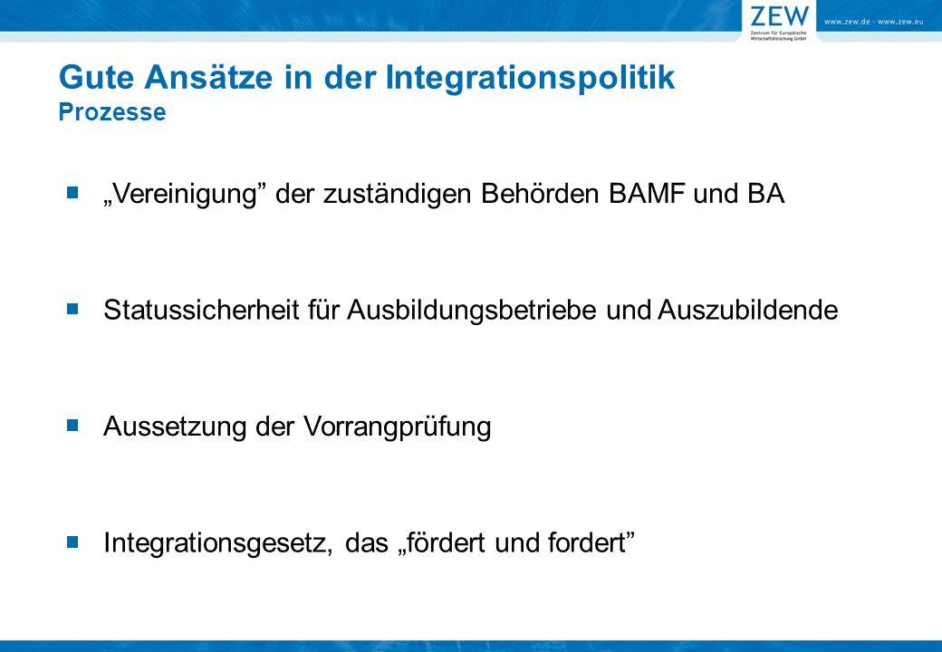 """Aussetzung der Vorrangprüfung Gute Ansätze in der Integrationspolitik Prozesse """"Vereinigung der zuständigen Behörden BAMF und BA Integrationsgesetz, das """"fördert und fordert Statussicherheit für Ausbildungsbetriebe und Auszubildende"""