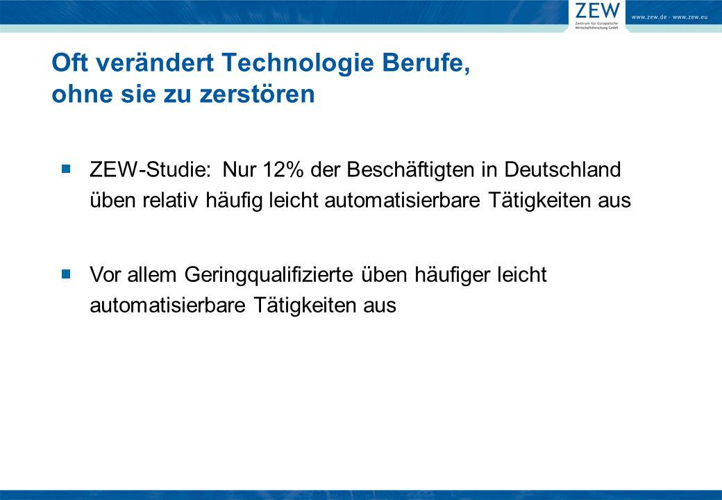 Oft verändert Technologie Berufe, ohne sie zu zerstören ZEW-Studie: Nur 12% der Beschäftigten in Deutschland üben relativ häufig leicht automatisierbare Tätigkeiten aus Vor allem Geringqualifizierte üben häufiger leicht automatisierbare Tätigkeiten aus