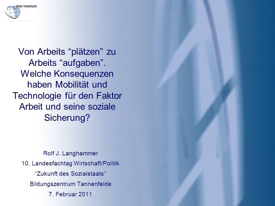 2 I.Exogene Rahmenbedingungen II.Von Jobs zu Tasks III.Konsequenzen für die Arbeitskraft IV.Konsequenzen für soziale Sicherungssysteme V.Schlussfolgerungen für Deutschland Von Arbeits plätzen zu Arbeits aufgaben