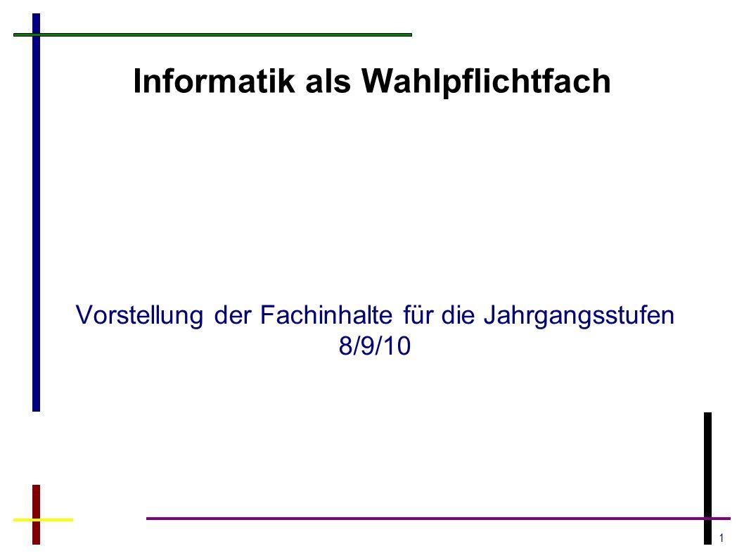 1 Informatik als Wahlpflichtfach Vorstellung der Fachinhalte für die Jahrgangsstufen 8/9/10