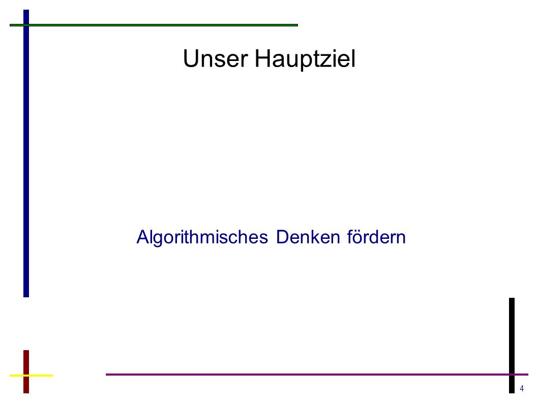 4 Unser Hauptziel Algorithmisches Denken fördern