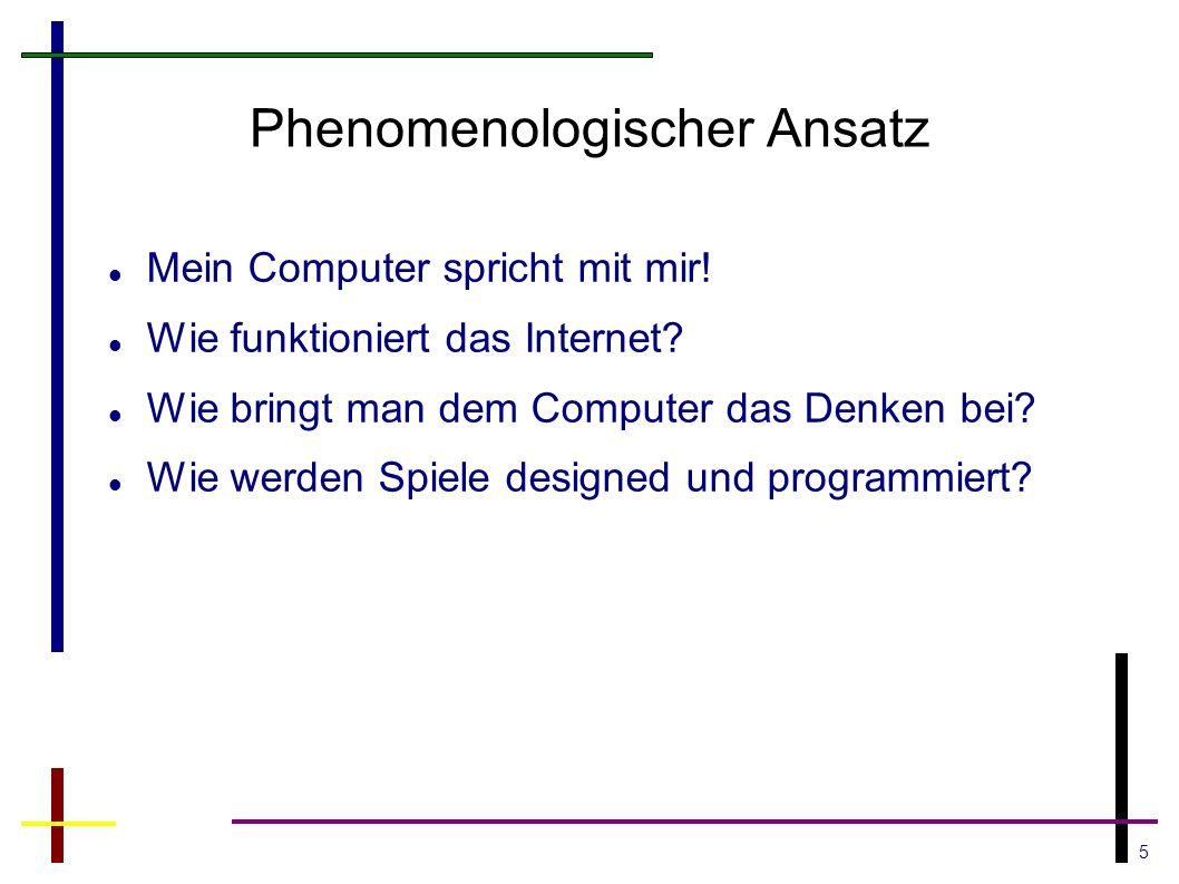 5 Phenomenologischer Ansatz Mein Computer spricht mit mir.