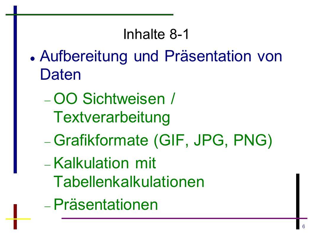 6 Inhalte 8-1 Aufbereitung und Präsentation von Daten  OO Sichtweisen / Textverarbeitung  Grafikformate (GIF, JPG, PNG)  Kalkulation mit Tabellenkalkulationen  Präsentationen