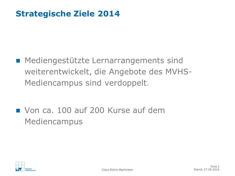 Claus Böhm-Bachmeier Folie 2 Stand: 17.09.2016 Strategische Ziele 2014 Mediengestützte Lernarrangements sind weiterentwickelt, die Angebote des MVHS- Mediencampus sind verdoppelt.